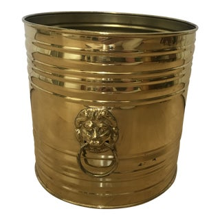 Round English Brass Flower Pot Holder With Lion Heads For Sale