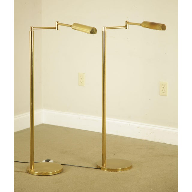 High Quality Vintage Pair of Brass Swing Arm Floor Lamps Store Item#: 23623