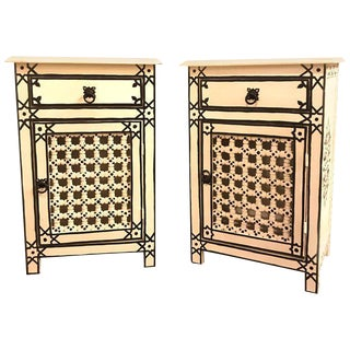 Moroccan Lattice White & Black Nightstands - A Pair