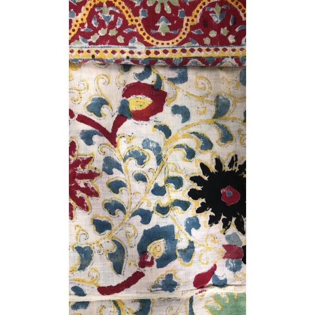 Turkish 20th Century Turkish Hand Block Printer Suzani Bedspread or Tapestry For Sale - Image 3 of 7