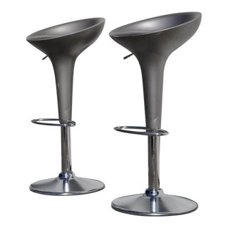 1990s Original Magis Bombo Metalic Grey Barstools by Stefano Giovannoni - a Pair For Sale