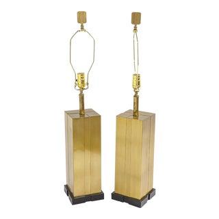 Pair of Modern Brass Lamps Att. C. Jere For Sale