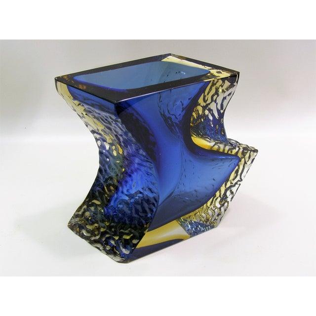 Large Italian Mandruzzato Murano Blue & Yellow Glass Sommerso Vase Mid-Century Modern MCM Campanella - Image 6 of 11