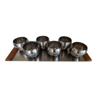 Vintage Arthur Salm Sweden 18-8 Stainless and Teak Tray and 6 Orb Cups