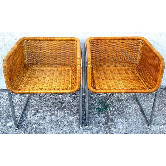 Mid-Century Modern 1970s Chrome and Rattan Cube Club Chairs - a Pair For Sale - Image 3 of 6