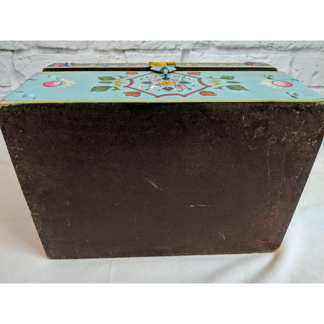 Vintage Mid-Century Folk Art Painted Wooden Box For Sale - Image 10 of 11