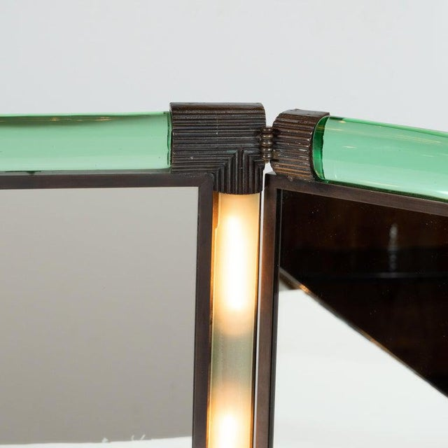 Metal Italian Mid-Century Emerald Glass, Bronze and Glass Illuminated Vanity Mirror For Sale - Image 7 of 10