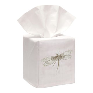 Beige Classic Dragonfly Tissue Box Cover in White Linen & Cotton, Embroidered For Sale