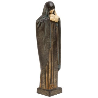 Art Deco Madonna and Child Sculpture by Luciene Heuvelmans in 1928 For Sale