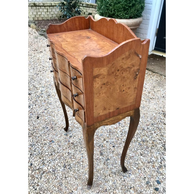Veneer Italian Louis XV Style Three Drawer Burl Wood Nightstand / Cabinet For Sale - Image 7 of 13