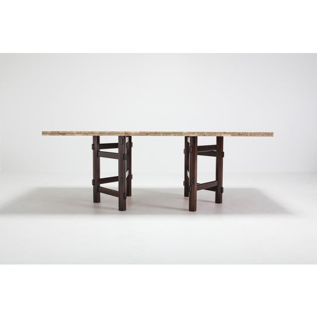 Dining table, in terrazzo marble and mahogany by Jan Vlug / Jules Wabbes, Belgium, 1970s. Mid-Century modern piece in chic...
