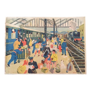 Vintage French Train Station School Poster For Sale