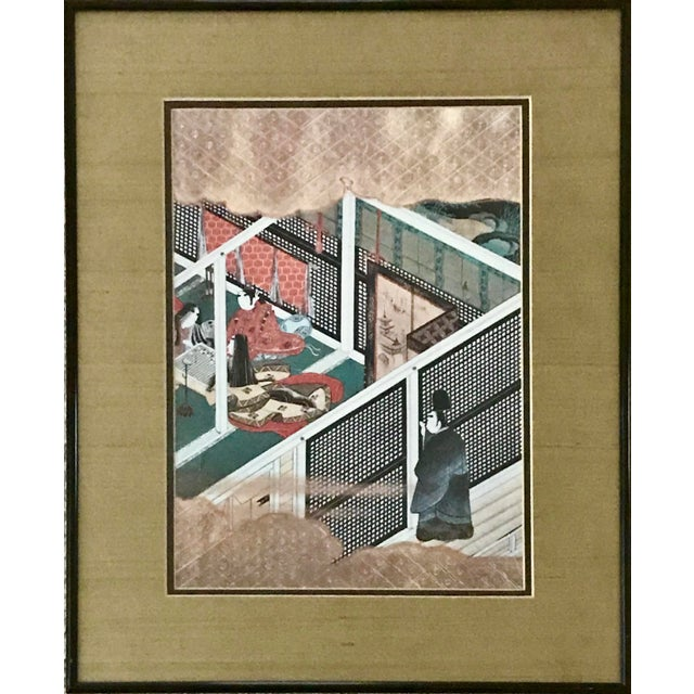 Vintage Mid-Century Framed Japanese Figural Print For Sale - Image 4 of 4