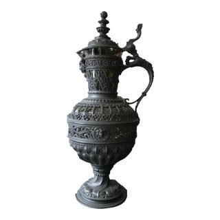 1920s French Spelter and Glass Wine Decanter For Sale