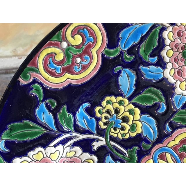 Antique French Faience Colorful Longwy Plate For Sale - Image 9 of 13