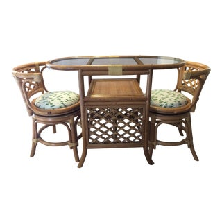 1960s Mid-Century Modern Bamboo & Rattan Dinette Set - 3 Pieces For Sale