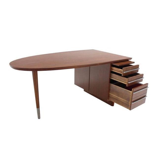 Aluminum Unusual Oval Shape Walnut Partners Extra Deep Desk Long Metal Stip Shape Pulls For Sale - Image 7 of 9