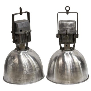 1950s Industrial Aluminum Hanging Pendant Lamps - a Pair