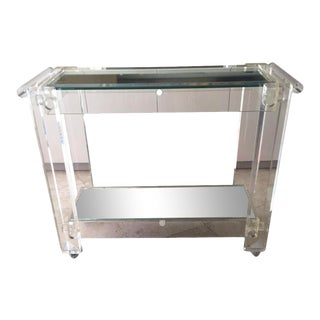 1970s Mid-Century Modern Mirrored Bar Cart Trolley For Sale
