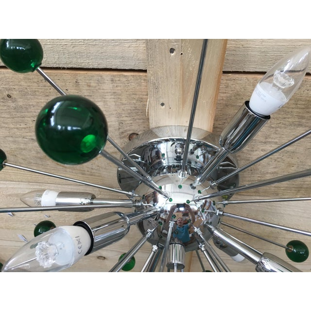 Contemporary Flush Mount Wall Sconce Murano Glass Sputnik Green Metal Frame in Color Kromo For Sale - Image 3 of 7