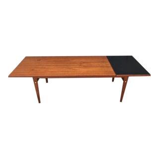 1960s Danish Modern Teak Drop Leaf Extension Coffee Table For Sale