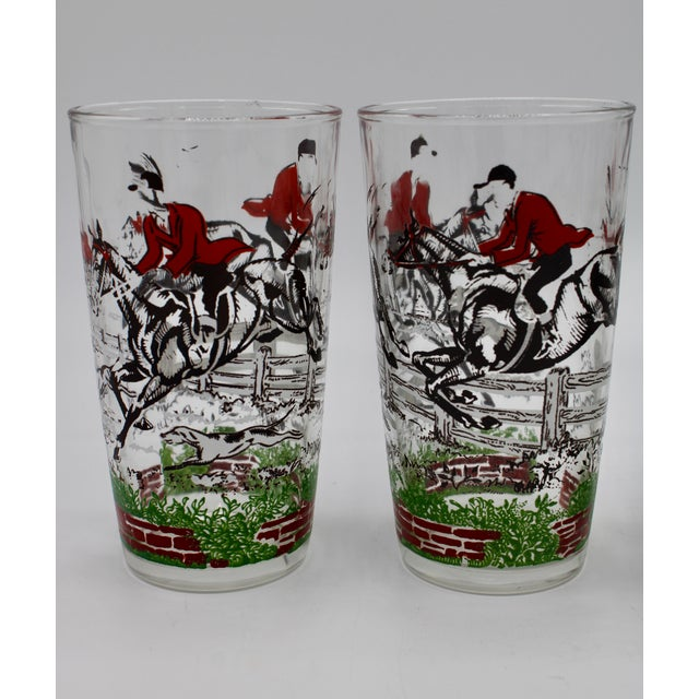 Red 1950s English Fox Hunt High Ball Drinking Glasses - Set of Eight For Sale - Image 8 of 13