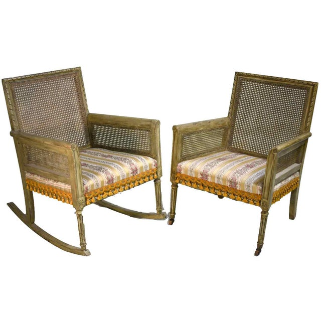 Mid-Century Cane-Back Tassel Fringe Rocking and Arm Chairs - a Pair For Sale - Image 11 of 11