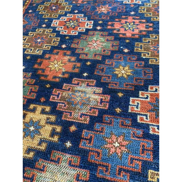 "Mid 20th Century Vintage Cobalt Blue Hand Knotted Geometric Rug- 34""x 47"" For Sale - Image 5 of 7"