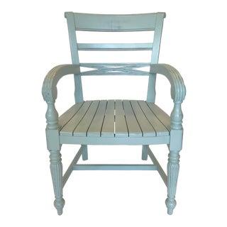 Trade Winds Raffles Aqua Mahogany Arm Chair For Sale