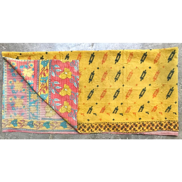 Vintage Kantha Throw Blanket, hand-stiched with a variety of Indian Cotton textiles. Made with a traditional embroidery...
