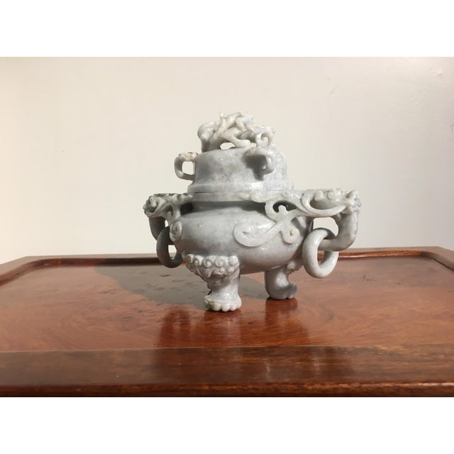 Asian Chinese Gray Nephrite Jade Censer, mid 20th century For Sale - Image 3 of 9