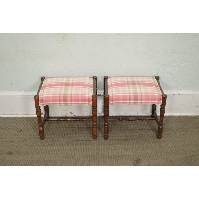 *STORE ITEM #: 17026 William & Mary Style Pair of Bobbin Turned Walnut Stools or Benches AGE / ORIGIN: Approx 35 years,...