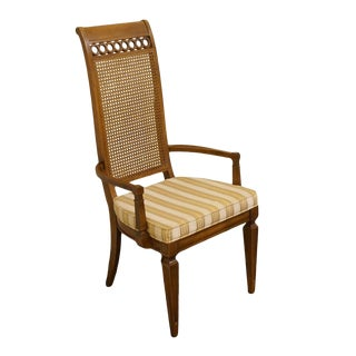 Thomasville Furniture Bellini Collection Cane Back Dining Arm Chair For Sale