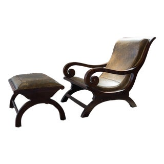 Mid Century Mexican Butaque Chair and Ottoman For Sale
