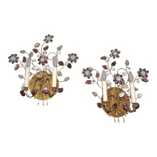 Bagues Style Floral Gilt Wall Sconces - A Pair