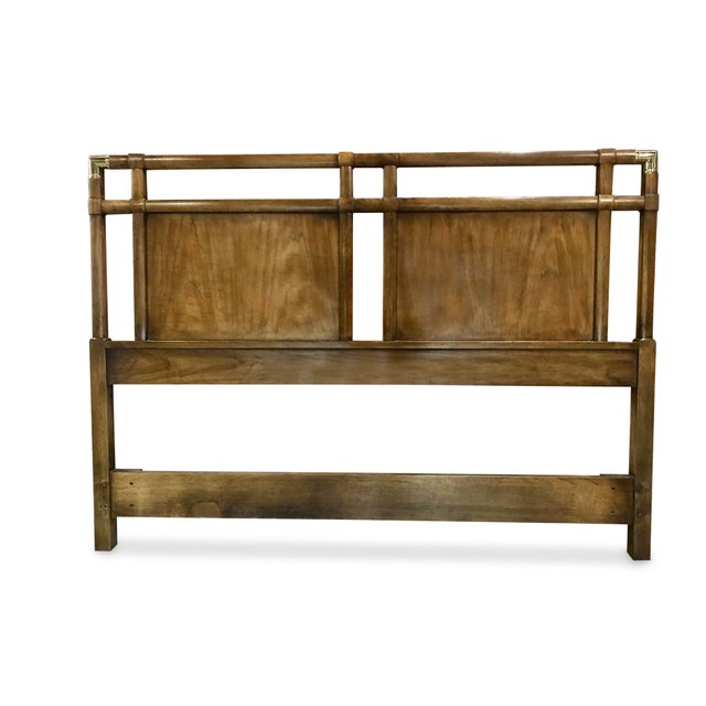 Vintage Walnut and Brass Campaign Headboard by Drexel Queen Size For Sale - Image 10 of 10