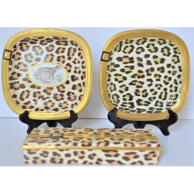 Brown 1970s Vintage Italian Mottahedeh Leopard Ceramic Set - 3 Pieces For Sale - Image 8 of 10