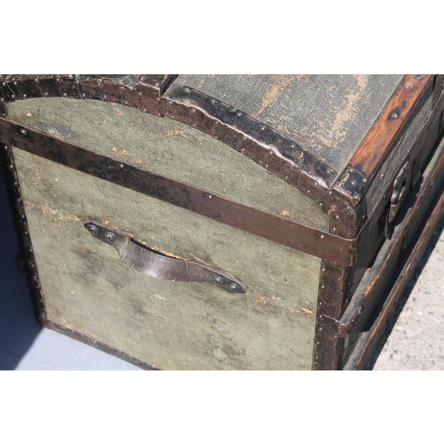 19th Century Original Green Painted Dome Top Trunk - Image 5 of 9