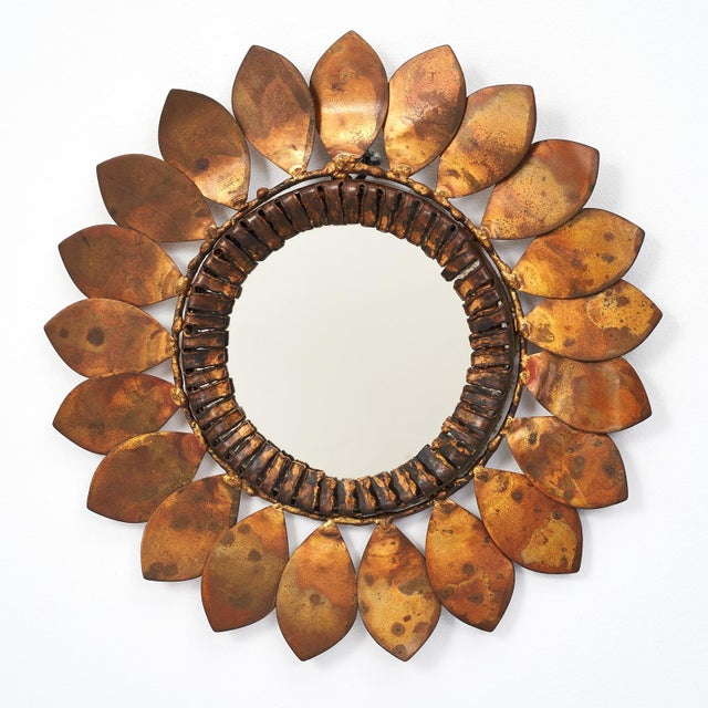 Gold C. Jere Mixed Metal 'Sunflower' Vanity Mirror, 1968 For Sale - Image 8 of 8