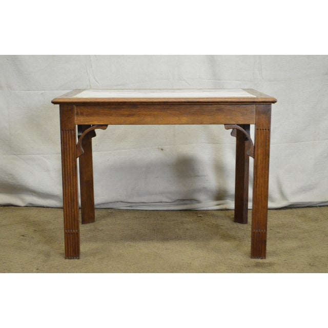 *STORE ITEM #: 16487-ax Chippendale Style Custom Walnut Marble Top Side Table DETAILS / DESCRIPTION: High quality American...