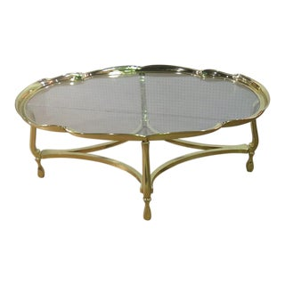 Vintage Mid Century Hollywood Regency Glass Top Coffee Table For Sale