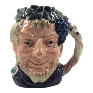 1958 English Royal Doulton Porcelain Character Jug Bacchus Grapes For Sale