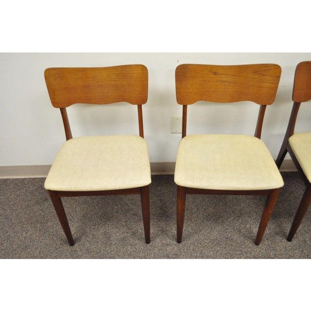 Gustav Bahus Norway Mid Century Danish Modern Teak Ribbon Dining Chairs - Set of 4 - Image 7 of 11