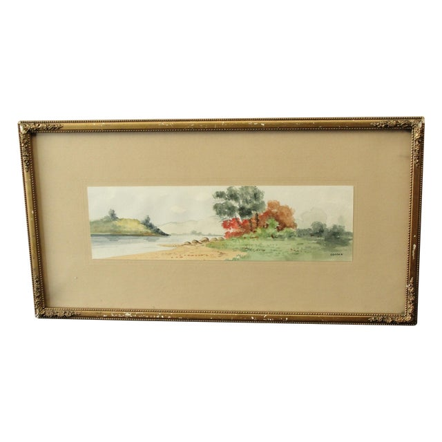 Antique Landscape Watercolor by Hasson - Image 1 of 9