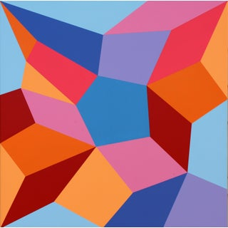 """""""One of These Days"""" Contemporary Geometric Hard Edge Acrylic Painting by Sassoon Kosian For Sale"""