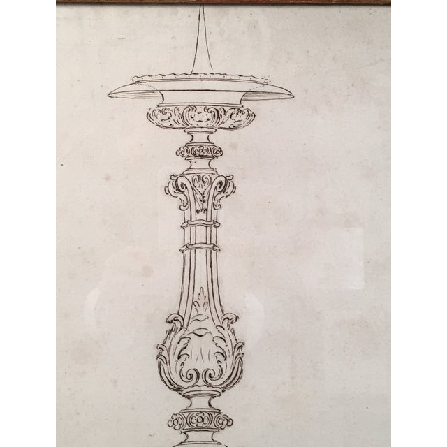 18th Century Italian Pen and Ink Baroque Candlestick Drawing - Image 3 of 6