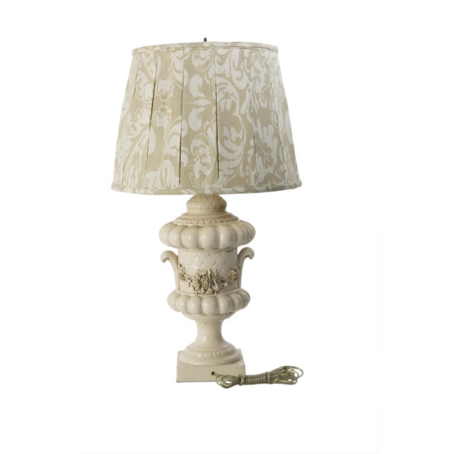 """Beautiful French glazed base and shade. Shade is 17""""wide and 12.5"""" tall. Newly rewired, beautiful."""