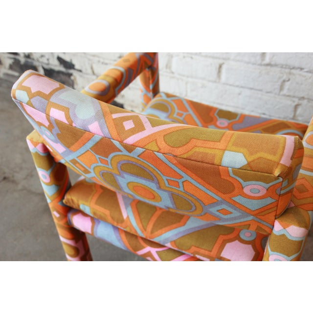 Milo Baughman for Thayer Coggin Parsons Style Club Chairs in Outstanding Larsen Fabric For Sale - Image 9 of 13