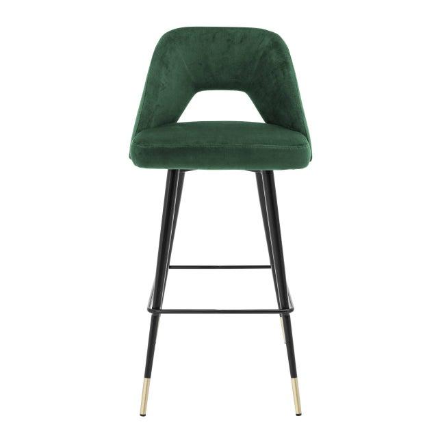 Mid-Century Modern Green Velvet Bar Stool | Eichholtz Avorio For Sale - Image 3 of 9