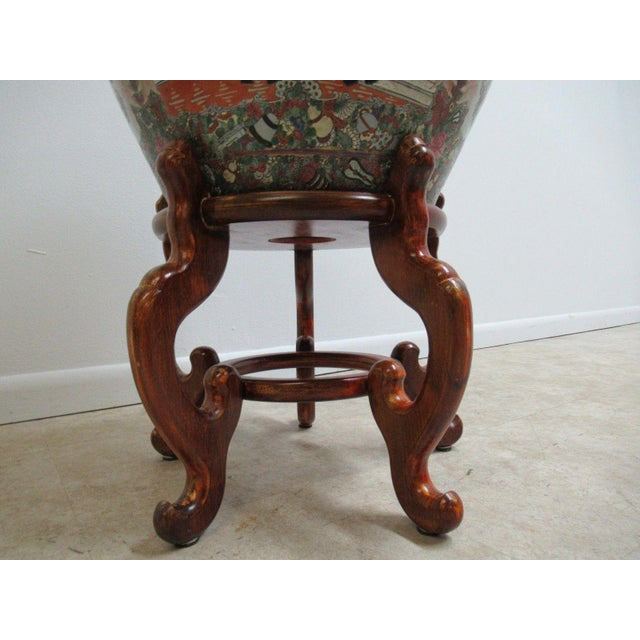 1990s Vintage Asian Pottery Fish Bowl Stand Lamp End Table Pedestal For Sale - Image 5 of 11